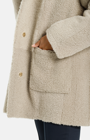 Phoebe: Light hooded jacket in a sand tone