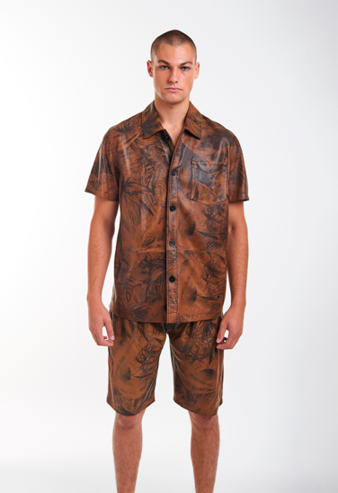 SAM: Overshirt in lamb nappa with palm print