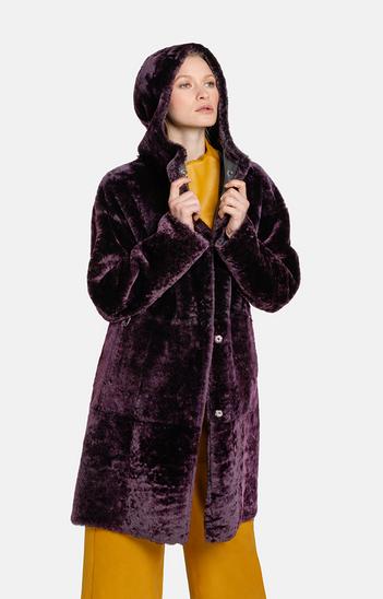 DILARA: Hooded coat in a two-tone look