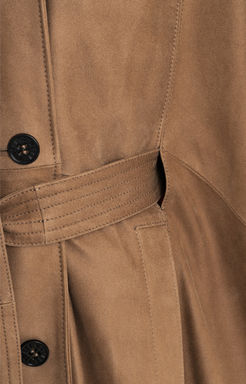 BO: Trench cape in napped goatskin suede