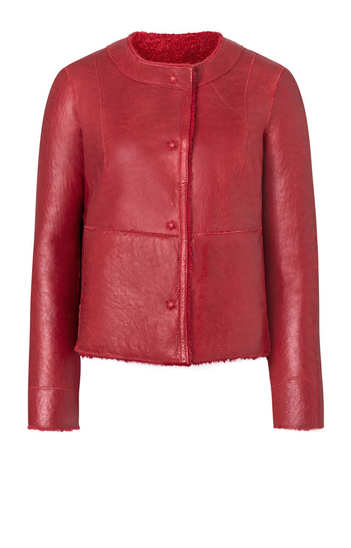 Fleur: short, reversible coat in lambskin