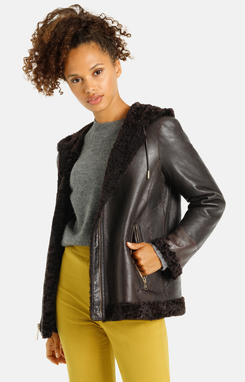 Frida: Sporty lambskin jacket with hood