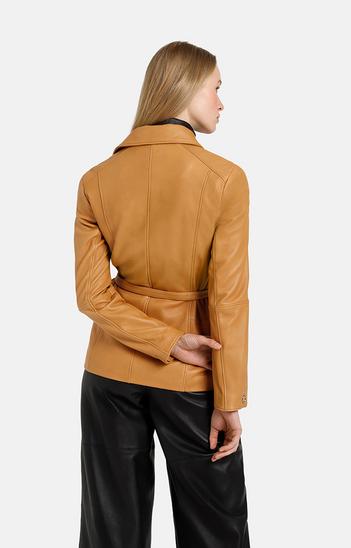 ALESSIA: longer biker jacket with tie belt