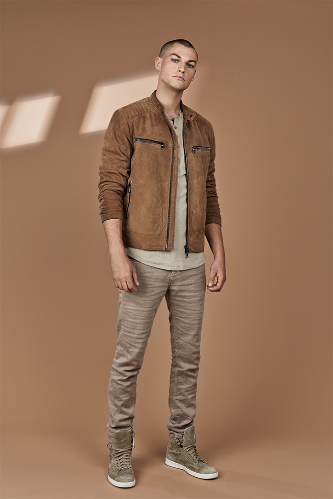 ELIAS: Biker jacket in soft goatskin suede