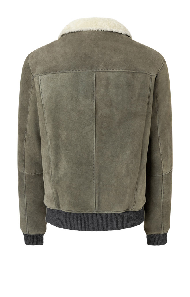 BASIL: Lambskin blouson with knitted merino