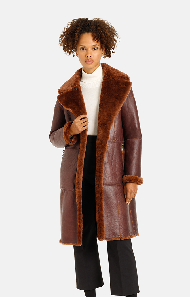 Nadesha: Reversible coat crafted in lambskin