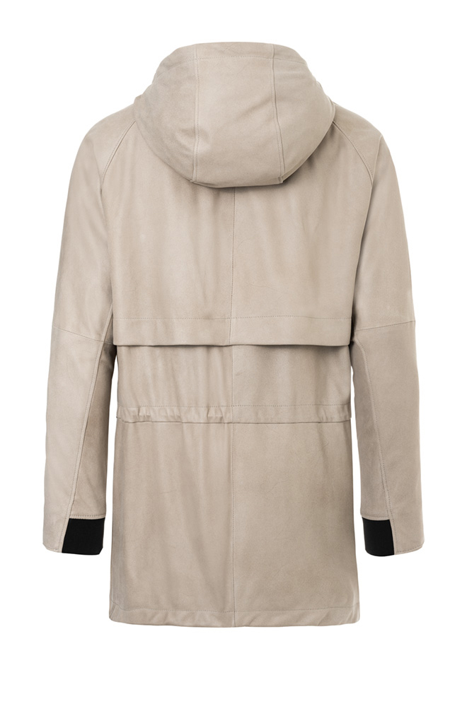 AIKO: Parka crafted in napped goatskin suede