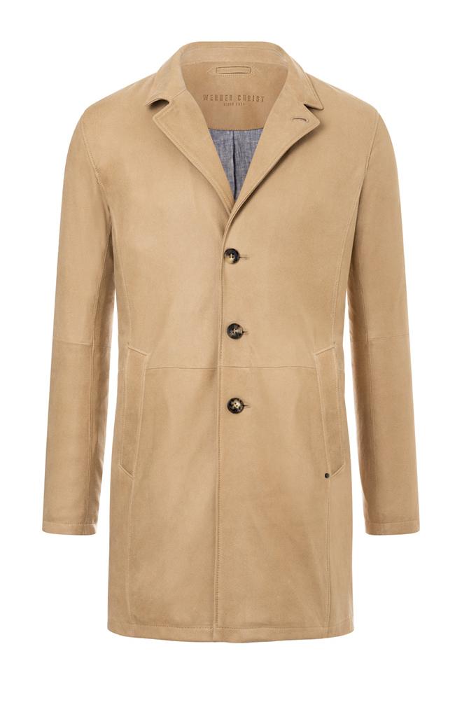 CLINT: Mantel aus nappierten Ziegenvelours