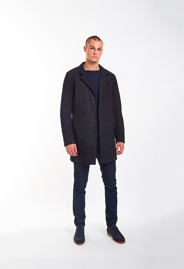 CLINT: Coat crafted in napped goatskin suede