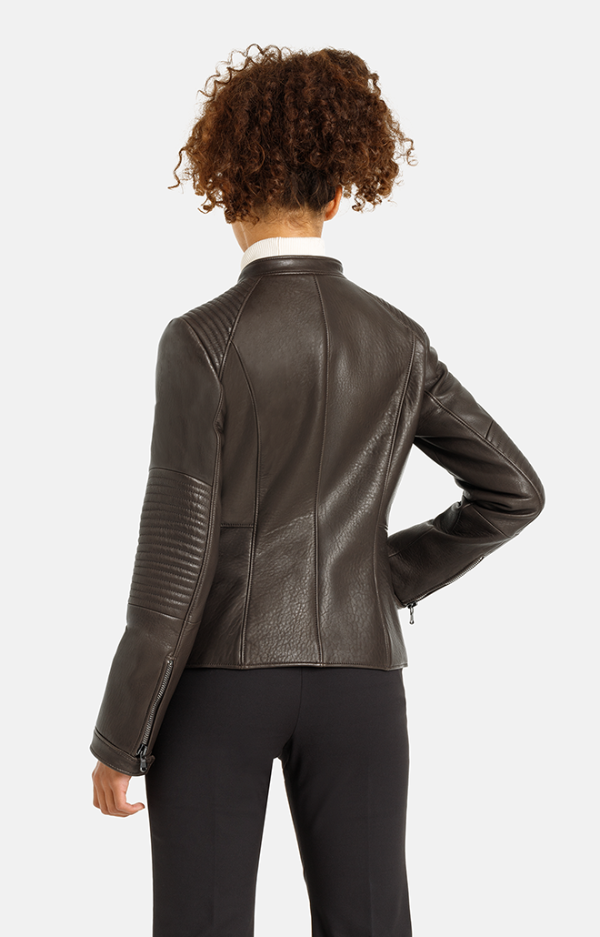 Ella: Leather jacket in biker style