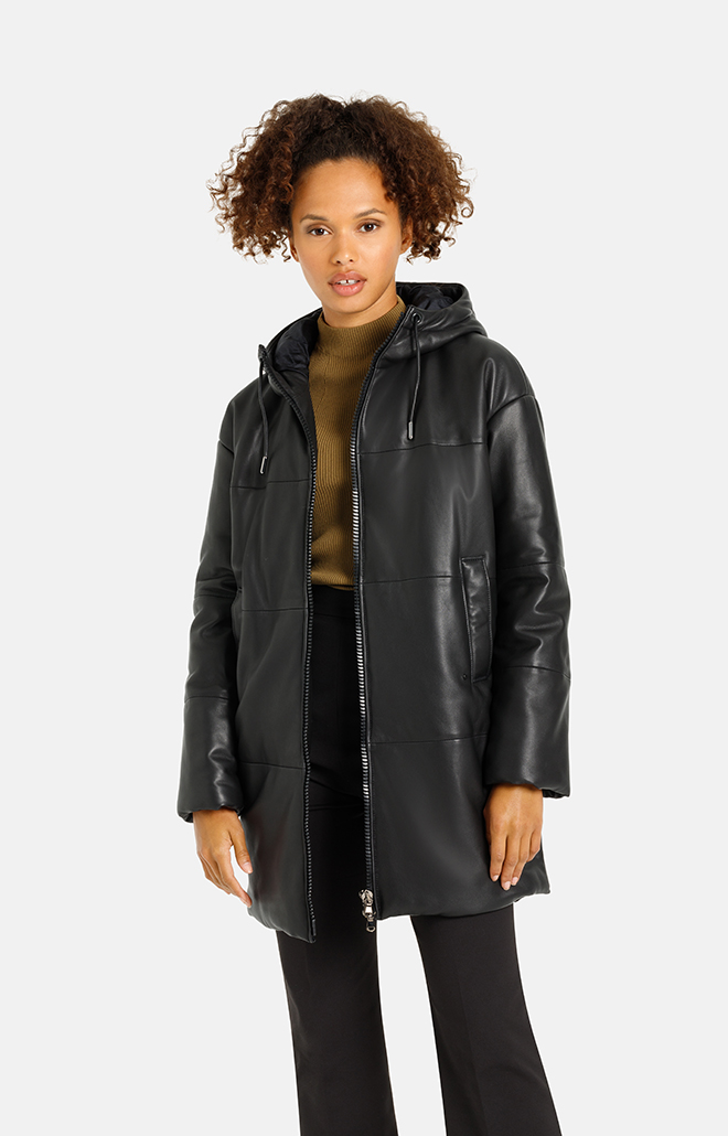 Kirsten: Quilted lamb nappa hooded jacket