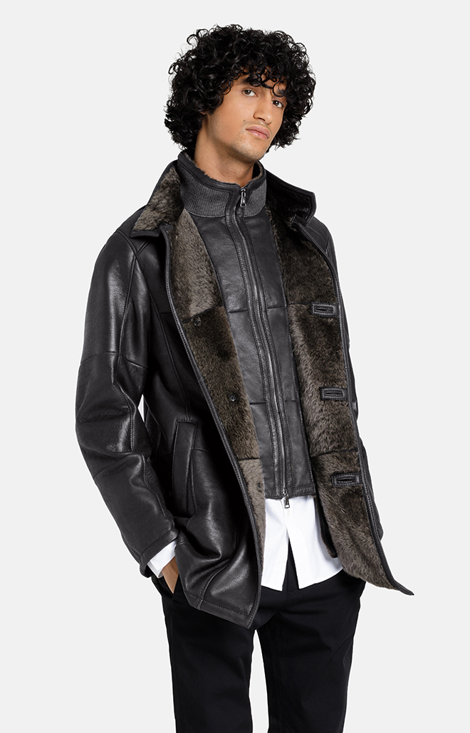 DAMIAN F: SHORT COAT WITH DOUBLE COLLAR