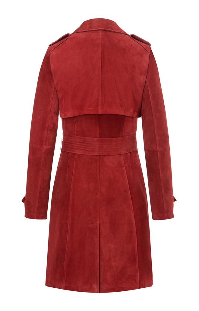 AMAL: Klassischer Trenchcoat aus Ziegenvelour